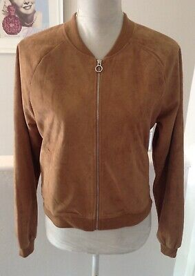 SELECT Tan Faux Suede Zip Up Lined Bomber Jacket Size 14 NWOT