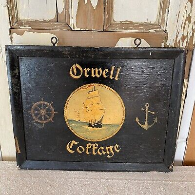 Vintage Hand Painted Hanging Wooden Sign Orwell Cottage