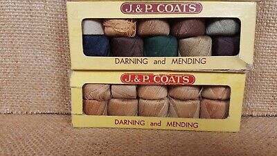 Lot 3 Vtg Bxs (2) J.&P.Coats & (1) STAR Darning&Mending Mercerized Cotton Thread