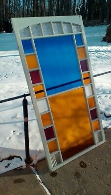 """Vintage 1920's Stained Glass Window 35 3/8"""" x 68 1/2"""""""
