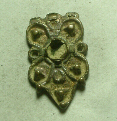 Rare genuine Ancient Roman Byzantine bronze applique cross star flower decorated