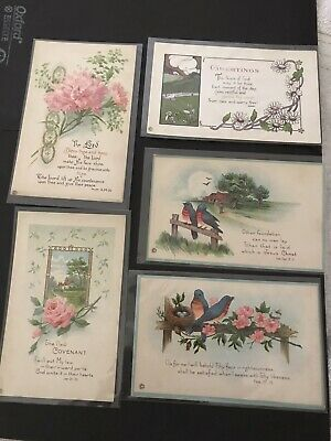 LOT OF 5 RELIGIOUS cards/ Antique Postcards/ Embossed/ FREE SHIP