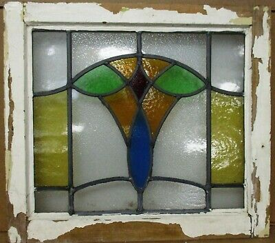 "OLD ENGLISH LEADED STAINED GLASS WINDOW Colorful Abstract Design  21"" x 18.5"""