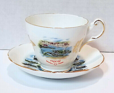 Royal Darwood Expo 67 Tea Cup and Saucer Bone China Made in England Gold Trim