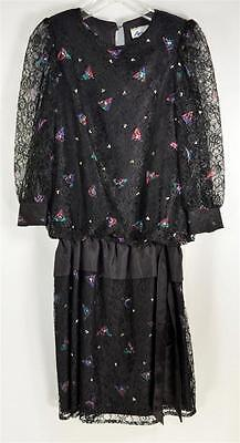 Vintage 1980s Aries II Black Floral Lace Dress with Large Ribbon Sash Size 5 USA