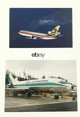 (2) Retro Airliner Postcards: Continental DC-10 & Trans International 727. Clean