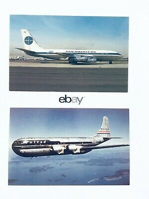 (2) Retro Airliner Postcards: Pan Am Boeing 707 & United 337 Stratocruiser.