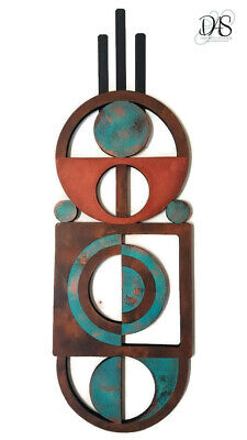 Aqua Brown Patina inspired Wood and Metal Abstract Wall Sculpture 31x10 by Alisa