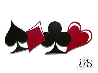 Red and Black Poker themed card game Contemporary wood wall sculpture by Alisa