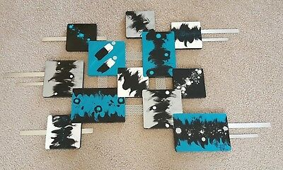 Turquoise Black Contemporary Abstract Wood and Metal Wall Sculpture by Alisa