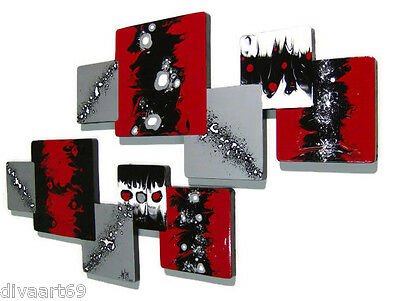 Hot Red and black abstract art wall sculpture, Unique wood wall decor hangings