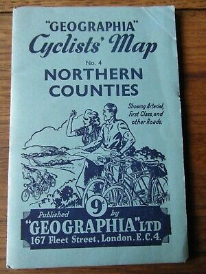 "Vintage ""Geographia"" Cyclists' Map Northern Counties. Sht. no.4 Circa. 1946"