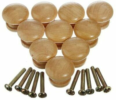 10pcs 24mm Natural Wooden Cabinet Drawer Cupboard Wardrobe Door Knobs Pull Hand