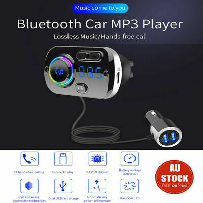 Bluetooth 5.0 Handsfree Car Kit FM Transmitter MP3 Player Audio & USB Charger AU