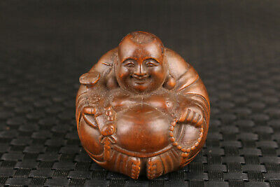 collection chinese old boxwood hand carved Maitreya Buddha statue decoration