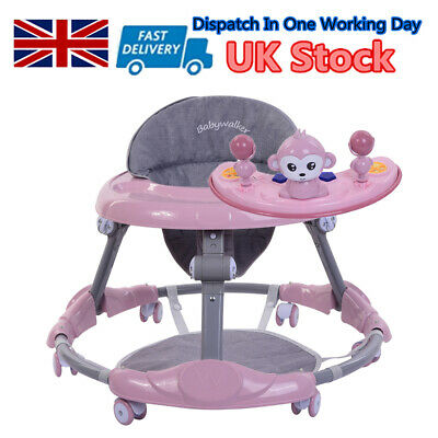 Pink Baby Walker First Steps Push Along Bouncer Activity Ride On Car Girls Gifts