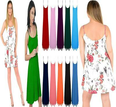 Womens Plain Cami Flared Skater Ladies Strappy Vest Top Swing Mini Summer Dress