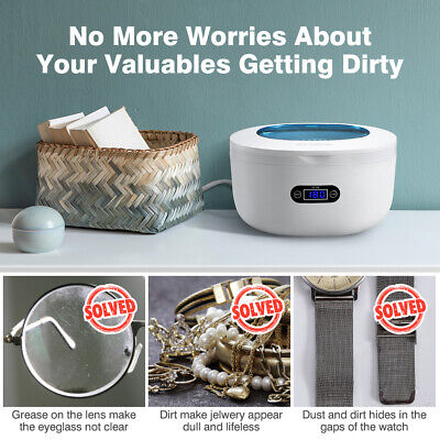 750ml Stainless Ultrasonic Cleaner Ultra Sonic Bath CD Watch Cleaning Timer Tank