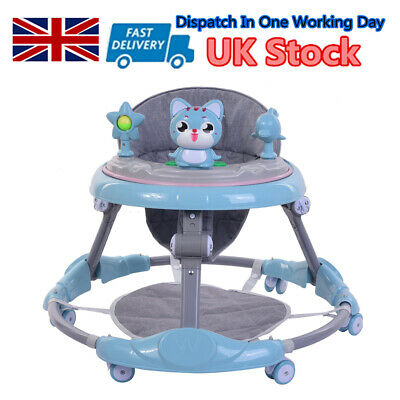 Blue Baby Walker First Steps Push Along Bouncer Activity Ride On Car Boys Gifts