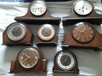 An Assortment of 7x Wooden Old Mantle Clocks