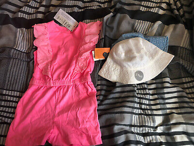 Marks & Spencer's pink young girls All In One Outfit & Asda Hats Age 1-3 & 2-3