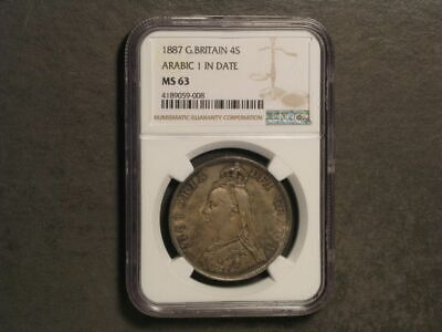 GREAT BRITAIN 1887 2 Florin Arabic 1 Silver NGC Slabbed MS-63