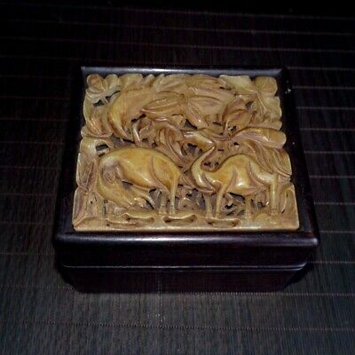 Collectable China Old Hua Limu Mosaic Shoushan Stone Hand-Carved Fun Storage Box