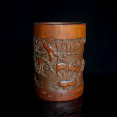 Collectable China Old Boxwood Hand-Carved Horse Delicate Unique Noble Brush Pot