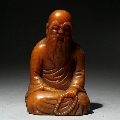 Collectable China Shoushan Stone Hand-Carved longevity Old Man Moral Luck Statue