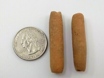 Pre-Columbian Clay Beads, Pair, South America