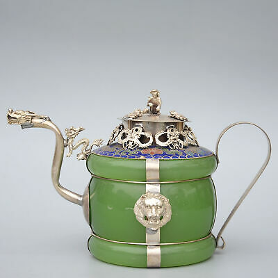 Collect Old Miao Silver Inlay Jade Carve Dragon & lion & Monkey Noble Wine Pot