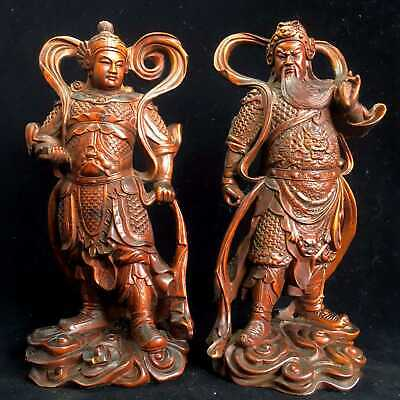 Collectable China Old Boxwood Handwork Carve Duke Guan & Veda Auspicious Statue