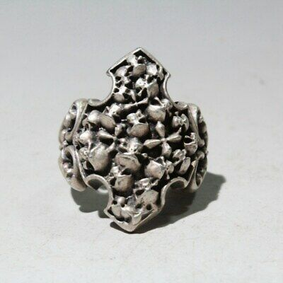 Collectable China Old Miao Silver Unique Carve Skeleton Head Exorcism Rare Ring