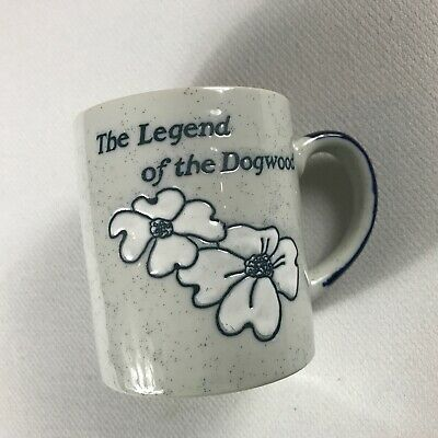 The Legend Of The Dogwood Coffee Mug VTG Etched Story Cup Drink Speckled Flower