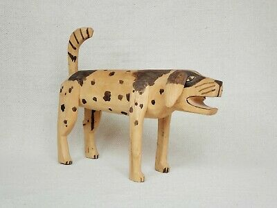 LARGE Vintage Mexican Folk Art ALEBRIJE Wood Carving Dog Oaxacan RARE 1970s