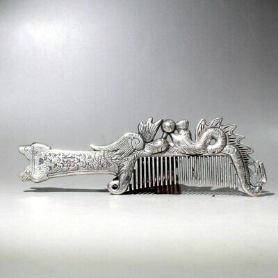 Collectable China Old Tibet Silver Hand-Carved Dragon Phoenix Chic Decorate Comb