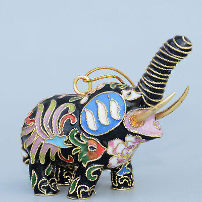Collectable China Old Cloisonne Hand-Carved Auspicious Elephent Unique Statue