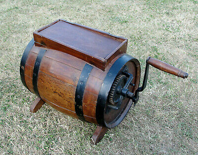 "1870s VICTORIAN ""TABLE TOP"" WOODEN  BUTTER CHURN in jolly nice condition"