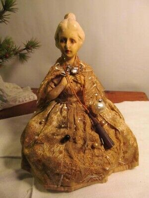 Vintage Victorian Woman Half Doll Pin Cushion & Stick Pins