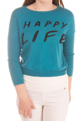 PINKO UP Jumper Size M / 8Y Intarsia 'HAPPY LIFE' Two Tone Long Sleeve