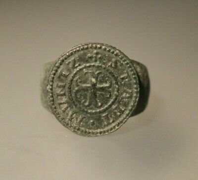Ancient Fantastic Medieval Bronze Ring  1st - 4th century AD