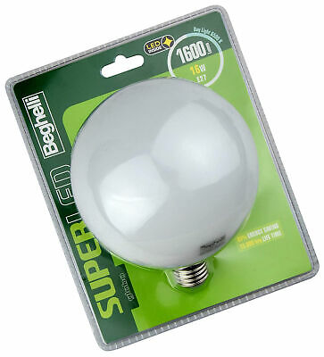 BEGHELLI Superled Globe LED Bulb, E27, 16W, Cold Light, 6500°K White