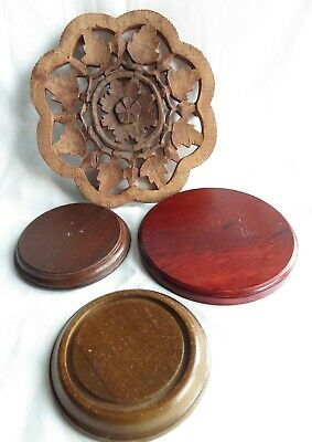 4 Vintage Japan Brown Wood Round Display Stands
