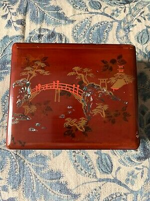 Antique Japanese Lacquer Mother-of-Pearl Stationery Box, 1920s