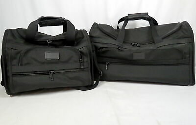 """Lot 2 Tumi Alpha Sport Duffle Carry-On Bags Black Nylon Leather Accent 22"""" & 15"""""""