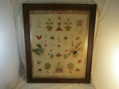 """RARE ANTIQUE MID 19TH CENTURY FRENCH MEMORIAL SAMPLER 27""""x23"""" WITH INSCRIPTION"""