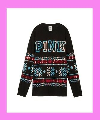 BLING Victoria Secret Pink SEQUIN HOLIDAY ❤ CAMPUS PULLOVER TEE T-SHIRT XS TUNIC