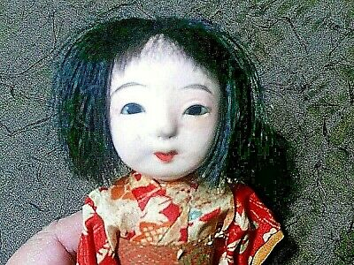 Antique Vintage Japanese Gofun Hina Doll Silk Kimono Glass Eyes Ornament 8""
