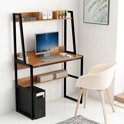 Small Computer Desk Home Office Workstation PC Laptop Writing Table with Shelf