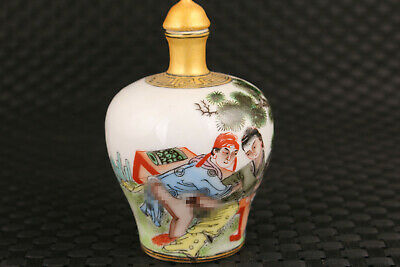 Asian chinese old porcelain art Figure statue snuff bottle decoration